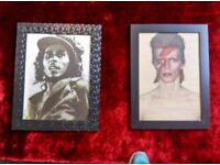 Minted framed BOB MARLEY and DAVID BOWIE pics