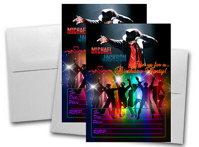 12 Michael Jackson Birthday Invitation Cards (12 White Envelops Included) - Michaels Party Supply