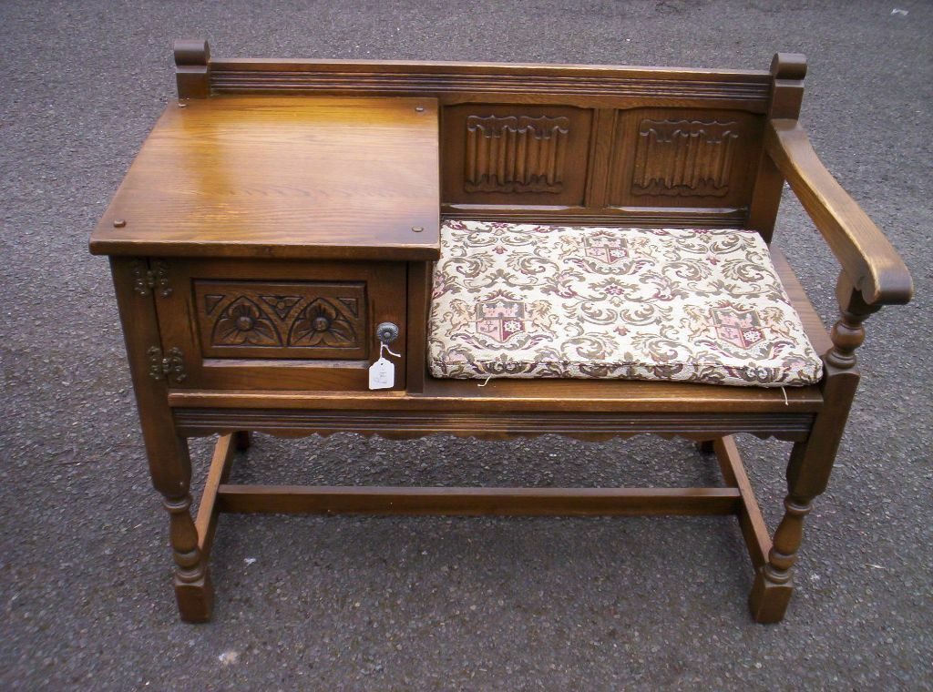 Lovely Oak Genuine Old Charm Hall Seat Telephone Table