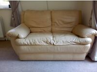 Leather sofa 3 2 1 very good condtion off white /yellow