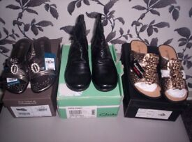 New , 2 Pairs Mules , 1 Pair Ankle Boots