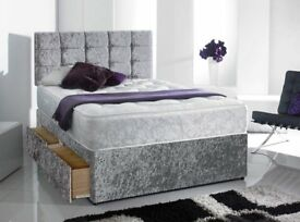 Fast & FREE Delivery Silver Crushed Velvet Bed MEMORYFOAM or ORTHOPAEDIC MATTRESS Diamante Headboard
