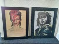 Framed Bob Marley and David Bowie pics