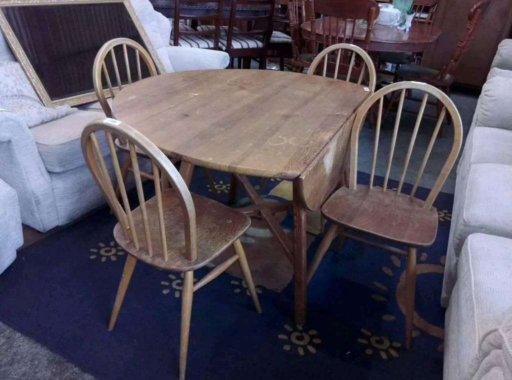 Four Ercol Dining Chairs With Non Ercol Table