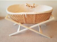 Mamas and Papas Moses Basket and Stand with Basket Liner and two mattresses