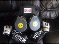 Boxing gloves and body pads