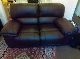 Leather Sofa. Two manual recliners. Brown