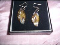 NEW MARIANO ART GLASS EARRINGS, ON SILVER WIRES STILL BOXED