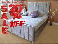 HENLEY Save Money Buy Direct - Velvet Upholstered Fabric Bed - Storage 3' Single 4'6 Double 5' King