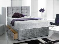 king size crush velvet bed with mattress +free headboard