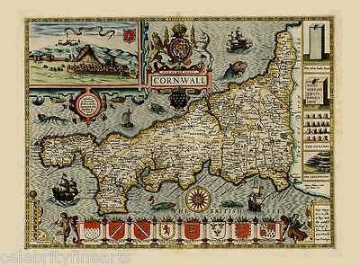 Reproduktion Alte Antik Map Of Cornwall von John Geschwindigkeit 17tes C Farbe