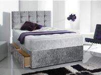 Delivery 7days aWeek Crushed Velvet Solid Bed MEMORYOAM Mattress DEEP Padded Diamnate Headboard