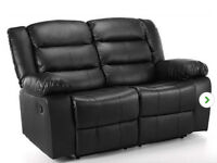 2 ALMOST NEW LEATHER RECLINER SOFAS (3 SEATER & 2 SEATER)