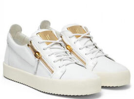 Giuseppe Trainers White Leather with Patent Leather Trim and gold zips