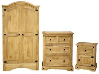 Mexican Pine Bedroom Set Wardrobe, Chest of Drawers, Bedside Cabinet