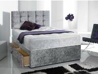 Delivery 7days a week CRUSHED VELVET Single Double King Bed Mattress Diamante Headboard