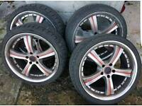 19 inch 5x112 RS alloy wheels with NEW TYRES AUDI a3 a4 a5 a6 tt vw golf passat caddy t4 Seat Leon