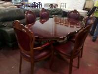 Italian dining table and x 6 oxblood leather chairs