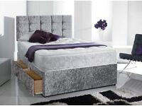 Delivery 7Days a week GOOD QUALITY Crushed Velvet Bed Mattress Headboard Single Bed Double Bed king