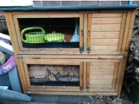Double Rabbit Hutch and Run Guinea Pig House Home Slide Out Cleaning Tray with 4 Doors