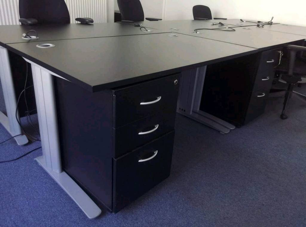 Black Ash Straight Office Desks