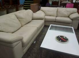 Cream leather sofa set. Del available