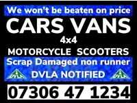 ‼️ WANTED ANY CAR VAN 4x4 ANY CONDITION FAST CASH ON COLLECTION SELL MY SCRAP NO MOT DAMAGED