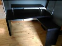 Ikea black corner desk with shelf