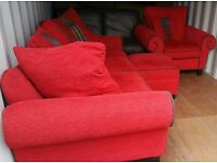 LUSH LIPSTICK RED DFS SOFA, STORAGE FOOTSTOOL & ARMCHAIR FOR SALE.