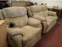 Fabric 2 piece suite with electric reclining chair