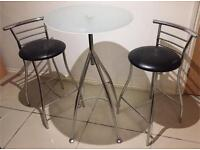 Glass Top table For Sale With 2 Stools