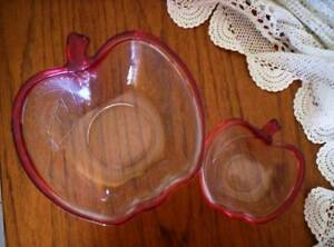 VINTAGE GLASS BOWLS SOGA APPLE SHAPE 1 LG 1 SM Strawberries cream Seaton Charles Sturt Area Preview