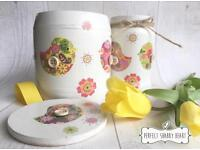 Mother's day gift set folklore birds floral wooden multi purpose storage pot with lid and vase