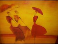 LARGE, MODEREN PRINT, IN GOLD FRAME OF LADIES ON BEACH WITH UMBRELLAS,