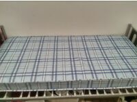 Single metal frame bed and mattress