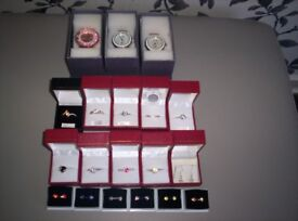 Stirling Silver Rings & Earrings ( Some With Swarovski Crystals ) From £2