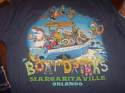 Margaritaville Orlando T-shirt L Large Boat Drinks Tiki Barge Parrot Shark