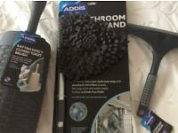 Bathroom cleaning set Addis range 3 items toilet brush, shower door squeeze and mop head, exc