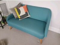 Teal blue fabric two seat sofa HABITAT RRP £450, great condition £300