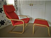 Red Ikea Poang chair and stool