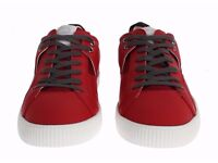 D&G RED GREY LEATHER CASUAL SNEAKER SHOES TRAINERS EU44 10UK DOLCE GABBANA HALF PRICE