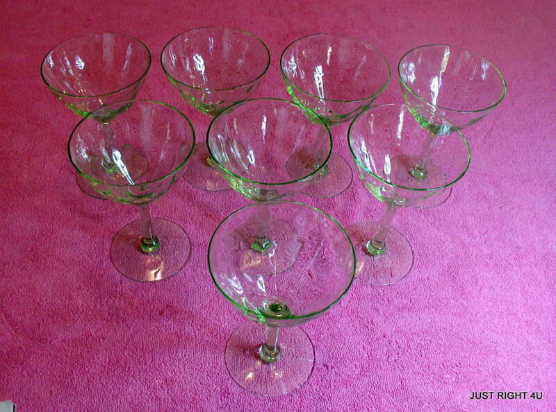 """{SET OF 8} Unknown (Green - Drape Optic) 5 1/4"""" LOW SHERBETS Exc"""