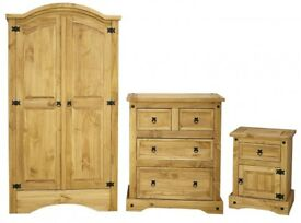 Corona Trio Bedroom Set : Wardrobe, Chest & Bedside Distressed Solid Waxed Light Pine