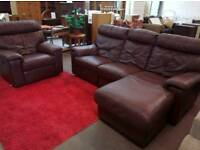 Brown leather corner sofa and electric reclining armchair. Del available