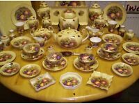 AYNSLEY , FINE BONE CHINA, LARGE COLLECTION OF ORCHARD GOLD , IN VARIOUS PIECES