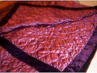LAURA ASHLEY, KING SIZED QUILTED BEDSPREAD / THROW IN DAMSON COLOUR,