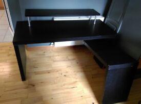 Ikea black corner desk with shelf