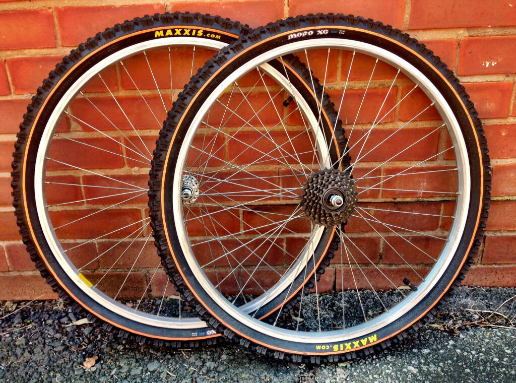 Pair Of 26 Inch Alloy Mountain Bike Wheels With Maxxis Tyres In