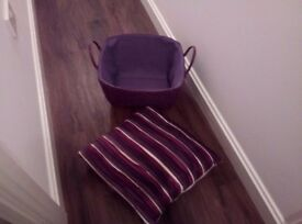 Cushion and storage basket- purple/ mauve