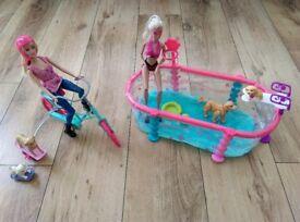 Barbie Bike Set, Swimming Pool and Swing / Slide Set.